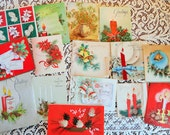 Pretty Pinecones are the Center of Vintage Christmas Card Lot No 615 Embossed Embellished and Lovely Total of 16 Cards