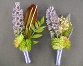 Purple groomsmen pin wedding party flowers mauve rustic wedding lavender boutineer lavendar simple groom boutinnere country style wedding