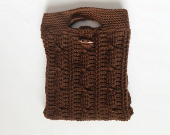 Cable Stitch Handbag in Coffee with Elephant Print Lining, ready to ship.