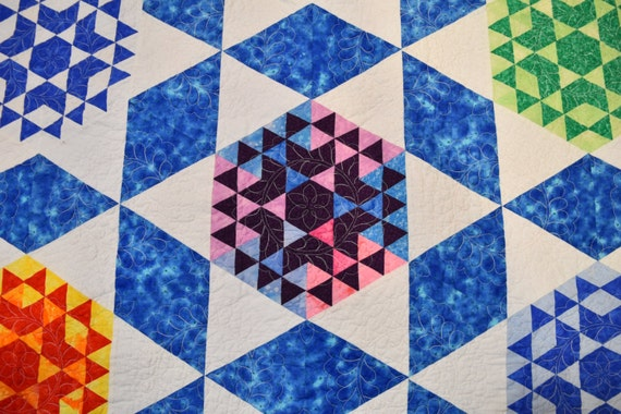Handmade Patchwork Queen Quilt Blue, She's Truly Lost Her Marbles, Quiltsy