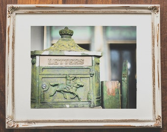 Antique mailbox wall art - Vintage style photography for home decor - Mint green letter box photo - Wall prints for office decor