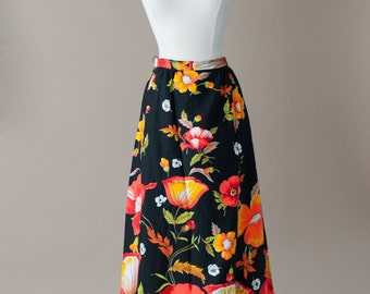 60s MOD Maxi Floral Skirt Small