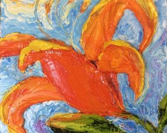 Day lilies Orange 8x8 Original Impasto Oil Painting by Paris Wyatt Llanso