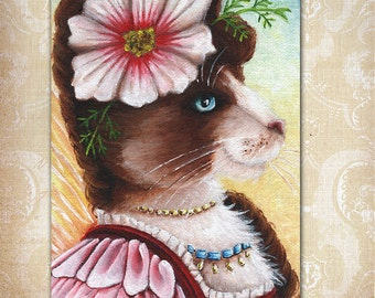 Cosmos Fairy Cat Flower Fantasy Art 5x7 Fine Art Reproduction Print