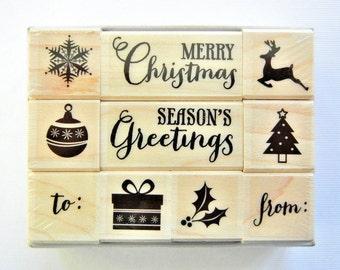 TINY CHRISTMAS Hero Arts Wood Mount Rubber Stamp Set