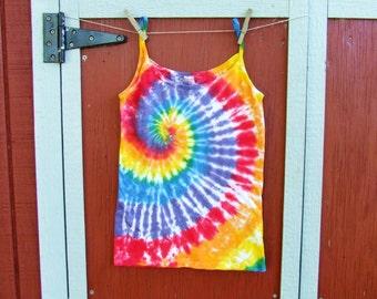 Women's Large Tie Dye Tank Top - Rainbow Swirl - Ready to Ship