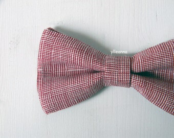 Men bow tie - Linen bowtie - Italian bowtie - Pre tied bow tie - Made in Italy - Red, ivory.