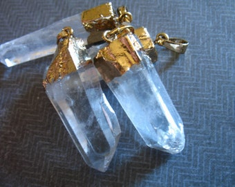 1 5 10 pc, CRYSTAL POINT Pendant Charms, Raw Crystal Quartz Point, Sterling Silver or 24k Gold Edged, 30-40 mm, ap ap70.1 bcp