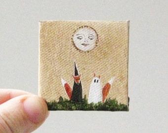 halloween moon  / MINIATURE painting on canvas panel