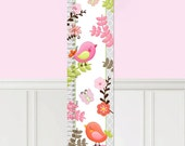 Canvas GROWTH CHART Girly Birds and Flowers Bedroom Baby Nursery Bedroom Wall Art GC0285