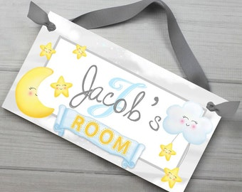 Moon and Stars Personalized Kids Bedroom Baby Nursery DOOR SIGN Wall Art DS0436