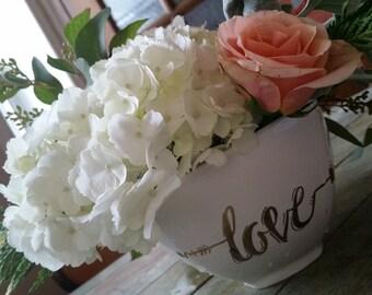 22k gold lustre' Love Bowl fresh flower arrangement