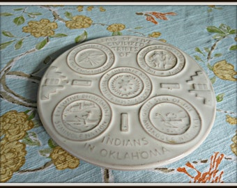 Frankoma Vintage Native American Indian Trivet Oklahoma Cherokee Chickasaw Muskogee Choctaw Seminole Cream White Glaze Footed Trivet