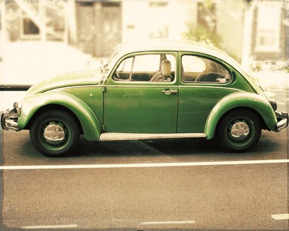 punch buggy green vw beetle vw bug print