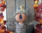 "PriMiTiVe Rusty Canned Pumpkin Head Scarecrow Stump Art Doll Folk Art Fall Harvest ""Pete"" OFG HAFAIR FAAP"