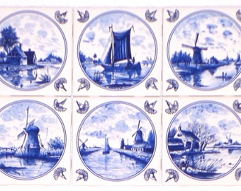 "Nautical Blue Delft Kiln Fired Ceramic Tile Back Splash Set of 6 4.25"" x 4.25"" Decor"