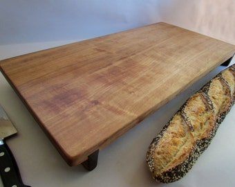 Beautiful CURLY Reclaimed LARGE Avodire Raised LONG Cutting Board/Serving Board Ready to Ship