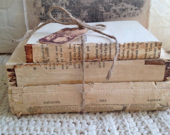 Trio of Vintage Coverless Books - Book Collection - Bare Book Bundle - Book Stack - Paper Ephemera