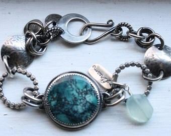 Turquoise Bracelet Sterling Silver - Handforged