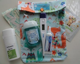 Medium Ouch Pouch First Aid Organizer for Baby Diaper Bag Car Purse Vacation Travel (5x7 Foxes in Sweaters Fabric) Fun Shower Gift under 10