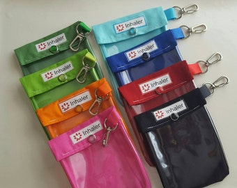 Inhaler / Auvi Q Pouch Clear Front W/ Clip Holds 1-2 Asthma Puffer or Square Epi Medication 4x5 Assorted Solid Colors