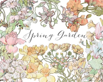 Spring Garden, Vintage Watercolor Flowers, Digital Clip Art Set, Commercial Use