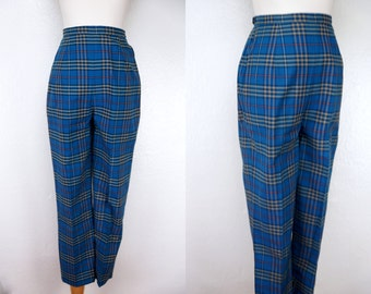 1960s Blue Plaid Capri Pants Fitted Highwaters Short Ankle Length Small Petite