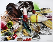 """Fishing lures - """"Alluring"""" - Art Watercolor giclee 11x14 print"""