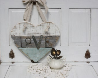 Striped Wooden Heart- Heart Sign- Metal and wood Love Sign