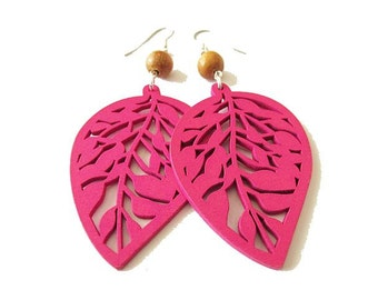 Pink Wooden Leaf and Brown Wood Earrings