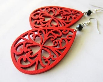 Red Wooden Filigree Earrings with Black Glass Beads