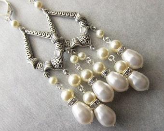 White and Cream Beaded Pearl Chandelier Bridal Wedding Earrings   Vintage Style Earrings   Long Beaded Cascade Earrings   Bridal Party
