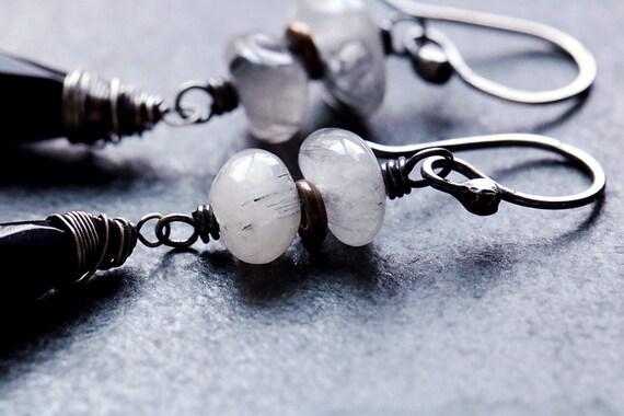 Black Agate and Rutilated Quartz Teardrop Earrings