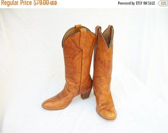 SALE 70s 80s Tall Leather Cowboy Boots size 7.5 to 8 Narrow Marbled High Heel Cowboy Boots