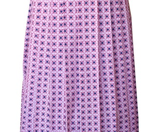 Floral Cotton Print Pleated Skirt
