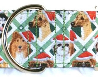 2 inch Christmas greyhound martingale dog collar, santa hat, all dog breeds, criss cross--Santa Paws
