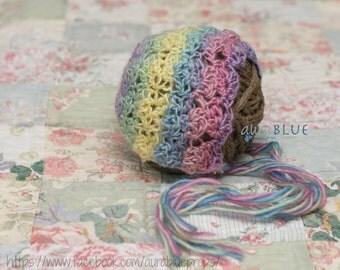 Newborn Girls, Pastel Rainbow,Crochet Baby Bonnet,Stretch Shell Stitch, Photography Prop, Baby Gift,Ready to Ship