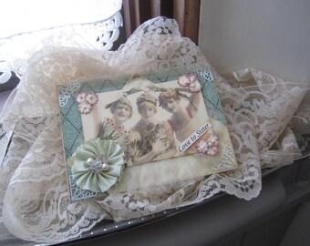Vintage-style Sister Card - Handmade Card for Sister - Birthday Card Sister