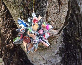 Folk Art Handmade morovian Star Halloween ornament Christmas ornament unique paper mache