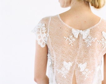 Lois - Beaded Lace silk wedding dress