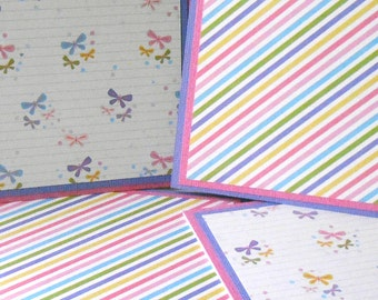 Blank Notecard Set: 4 Cards, 2 Each of 2 Designs, with Matching Embellished Envelopes - Sweet Pea