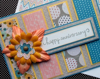 Anniversary Greeting Card with Matching Embellished Envelope - Cedar Lane Blossom