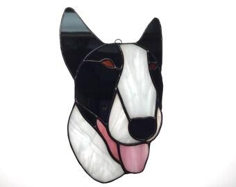 Bull Terrier Suncatcher in Stained Glass