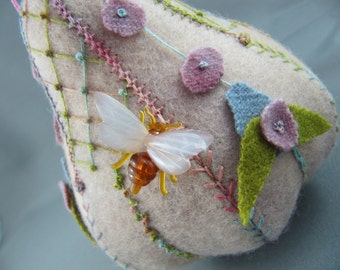 SOLD Embroidered Pear Pincushion Ornament