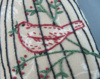 Primitive Bird in a Cage Pincushion