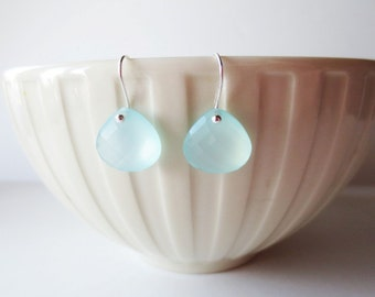 Aqua chalcedony earrings. Light blue chalcedony earrings. Gemstone earrings.  Aqua earrings. Chalcedony jewelry. Front drilled earrings.