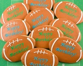 Football Cookies - 12 Decorated Sugar Cookie Favors