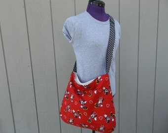 Red Minnie Mouse With Black Handle Crossbody Bag