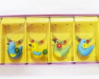 Pier 1 stemware drink charm colorful glass tropical birds table decor set of 6