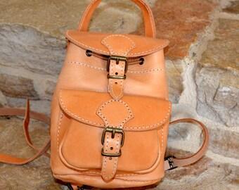 Handmade natural leather mini backpack